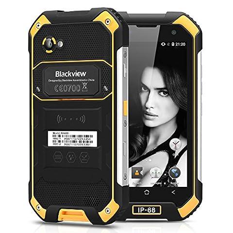 Blackview BV6000 Smartphone 4G Android 6.0 MT755 Octa Cores 2.0GHz 4.7 Pouces HD 720*1280 Pixels 3GB RAM 32GB ROM 5MP Caméra Frontale 13MP Caméra Arrière Flash Led Antipoussière Étanche Antichoc TF 4200mAh NFC Double SIM GPS Bluetooth BT4.1 FM (Jaune)