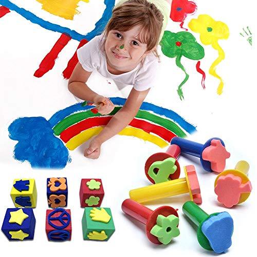 Schwammmalerei Kunststoffgriff Eva-Siegel Dichtungen Kunst liefert verschiedene Stempel Schaum Pinsel Zeichnung Handwerk diy Spielzeug Briefmarken Kind Werkzeuge bunte quadratische Karikatur