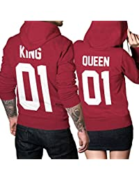 King Queen 01 SET 2 Hoodies Pullover Pulli Liebe Love Pärchen Couple Cherry Red