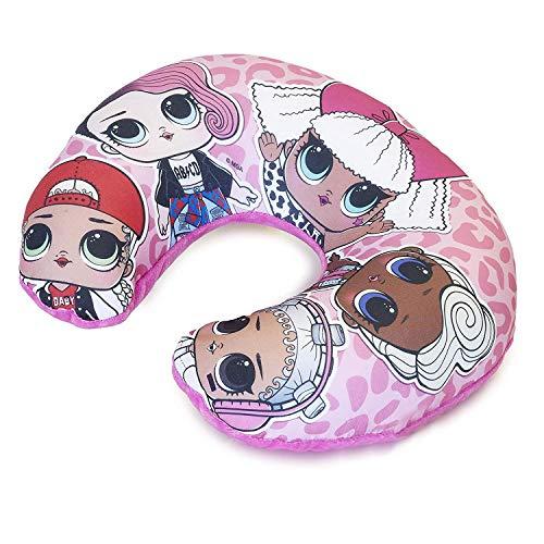 L.O.L. Surprise ! Cuscino Da Viaggio Bambina, Cuscino Aereo Con Bambole LOL Confetti Pop, Cuscino Da Auto, Supporti Per La Testa, Cuscino Collo Bambini (Rosa)