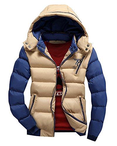 Uomo Sezione corta Grande Colletto Piumino Giacca con cappuccio Coat Colore misto Giacca trapuntata Cachi S
