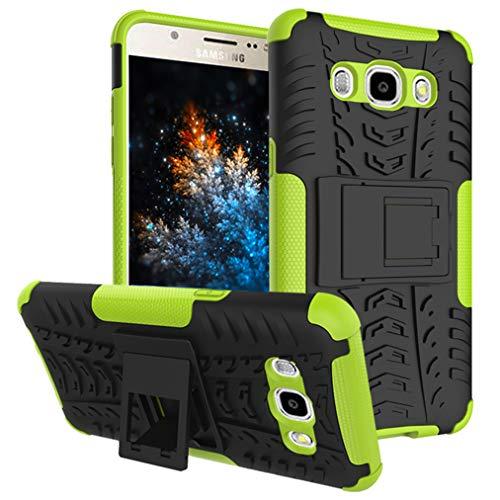 MRSTER Samsung J2 Prime Hülle, Outdoor Hard Cover Heavy Duty Dual Layer Armor Case Stoßfest Schutzhülle mit Ständer Handyhülle für Samsung Galaxy Grand Prime Plus. Hyun Green