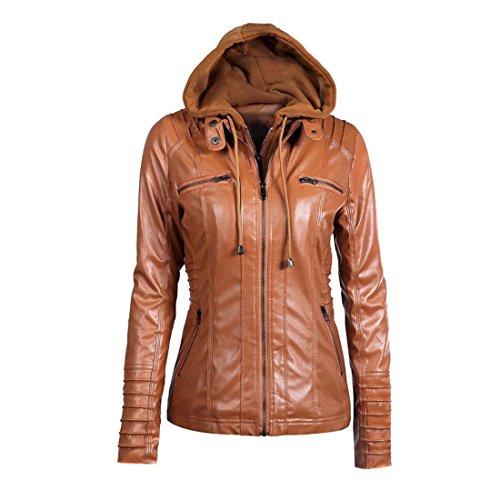Winter Hooded Jacke Damen Btruely Warm Mädchen Parka Damen Revers abnehmbarer Reißverschluss Mantell Slim Outwear (L, Braun) (Bestickte Strickpullover)