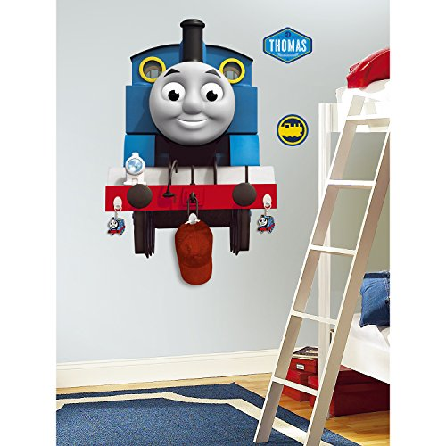 Roommates Rmk1832Gm Thomas The Tank Engine Peel And Stick Giant Wall Decal With 3 Hooks (The Thomas Tank Decals Engine)