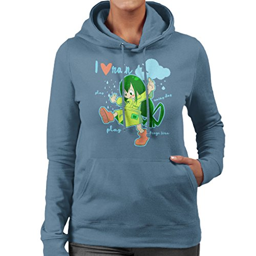 Boku No Hero Academia Tsuyu Asui Women's Hooded Sweatshirt Indigo Blue