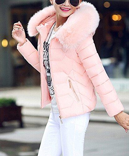 SMITHROAD Damen Winter Mantel Kurz Elegant Steppjacke mit großem Kunstpelzkragen Kapuze in 6 Farben EU Gr.32-40 Rosa