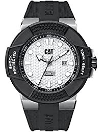 CAT Shockmaster Silver Dial 48MM Black Silicone Strap Men's Watch SF14121212