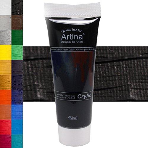 arben - hochwertige Künstler-Malfarbe in 120 ml Tuben in Schwarz & weitere Farben (Schwarze Acrylfarbe)