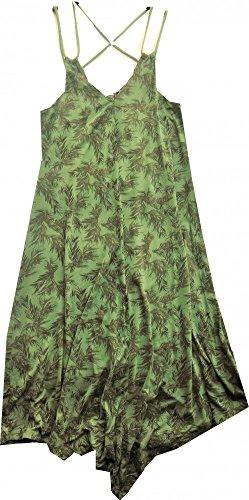 Khujo Trägerkleid dschungel-green Print fließender Feinjersey midi Zipfelsaum Evelyn, Größe:L (Dschungel-print-outfit)
