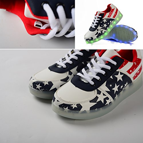 Scarpe Led Dogeek Per Bambini 7 Colori Usb Ricarica Scarpe Sportive Luminose Led Per Bambini Cambia Colore Sneaker Sneakers Per Uomo Donna (si Prega Di Ordinare Una Taglia Più Grande) Rosso