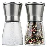 Moderne Salz und Pfeffermühle, 2-teiliges Salz- Pfeffermühlen Set, Edelstahl Gewürzmühle, Einstellba…