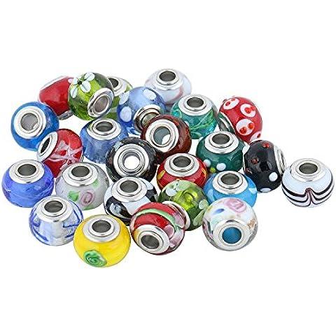 Luxbon 10 Pcs Cuentas Abalorios DIY Decoración para Pulsera Collar Multicolor 5mm
