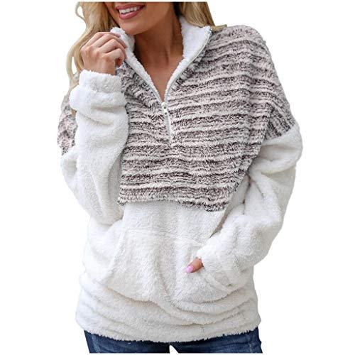 MORETIME 2020 Mode Teddy-Fleece Mantel Damen,Herbst Winter Flauschige Pullover,Rollkragenpullove Langarmshirt Fleece Mantel Warm Sweatshirt -