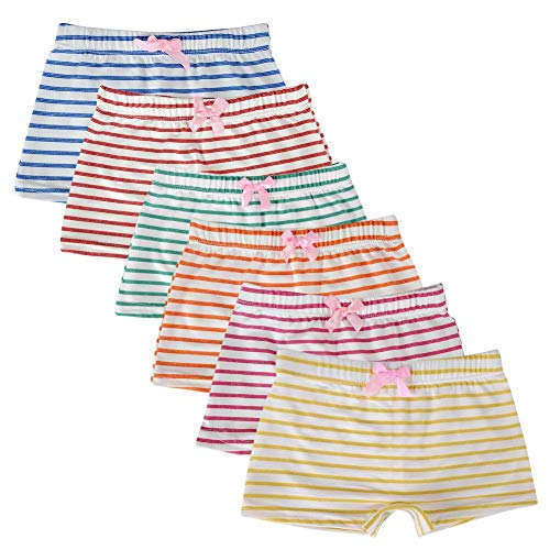 Tags Boyshorts Höschen Unterwäsche (Kidear Kinderserie Baby-Unterwäschen Baumwollene Boyshort Höschen für Kleine Mädchen (Packung mit 6 Stücken) (Stil6, 5-6 Jahre))