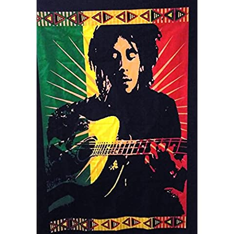 Legendary Bob Marley con chitarra poster da parete, indiano Tapestry, Hippie, decorazione da parete, Boho Dorm Decor, Bohemian Wall Hanging