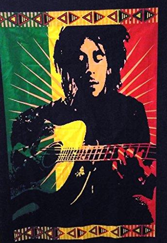 Póster de Bob Marley legendario con guitarra (, tapiz indio, Hippie Wall Decor, Boho Decoración De Dormitorio, bohemio colgar en la pared