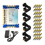 SkyRevolt SAT-Multischalter-Set 17/8 Multiswitch externes Netzteil Quattro LNB 4 Satelliten bis 8 Teilnehmer DVB-S2 HDTV FullHD UHD 4K inkl. 40x F-Stecker mit Dichtring GRATIS DAZU
