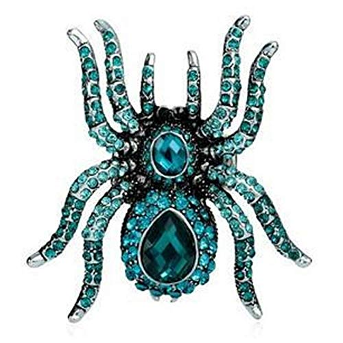 FQYYDD Blaue Spinne Justierbarer Ring Für Männer Erklärung Party Geschenke Silber Vintage Ringe Frauen Stretch Ring (Spinnen Ringe)