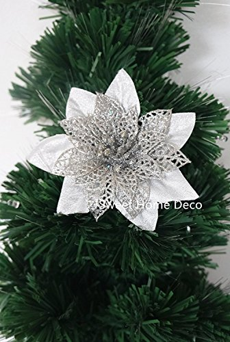 Sweet Home Deco 33cm Glitzer Weihnachtsstern künstliche Blumen Bush Weihnachtsdekoration mit doppeltem Verwendungszweck (5Blütenköpfe), keine Topf im lieferumfang enthalten