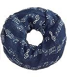 Caripe Damen Loop Schal Schlauchschal Musik Noten Notenschlüssel (dunkelblau)