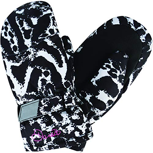 Dare 2b Kinder Watch Out Mitt Insulated and Waterprooft Girls Winter Ski Handschuhe, Black/White Fusion (Animal Print), Size 2-3 -