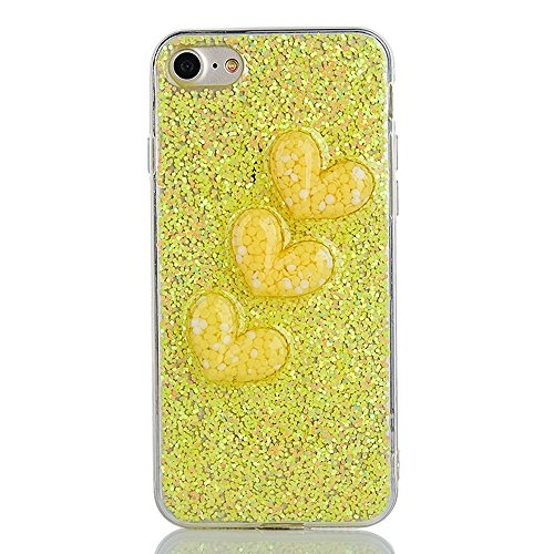 """Soft TPU Silicone Cover pour Apple iPhone 6/6s 4.7"""", CLTPY 2in1 Jelly Bling Diamant Série Case avec Plaquage Bord Incurvée Résistant Aux Rayures Couverture pour iPhone 6,iPhone 6s + 1x Stylet - Champa Yellow"""