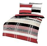 Kaeppel Biber Bettwäsche Set Prime Time Rot Schwarz Weiß Streifen, Größe:200x220cm Bettwäsche