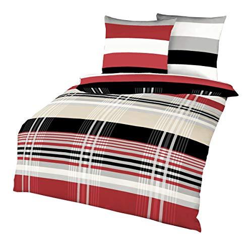 Kaeppel Biber Bettwäsche Set Prime Time Rot Schwarz Weiß Streifen, Größe:135x200cm Bettwäsche - Schwarz Rot Bettwäsche Set
