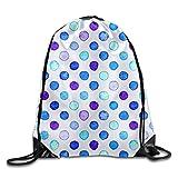 HLKPE Blue Watercolor Polka Dots Drawstring Backpack Travel Bag Gym Outdoor Sports Portable Drawstring Beam Port Backpack for Girl Boys Woman Female