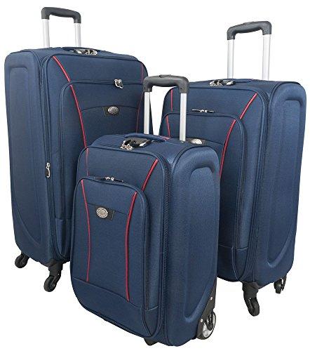 Kofferset 3tlg Weichgepäck S-M-L Farbe blau Nylonkoffer Trendyshop365