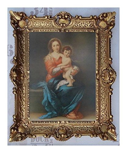 Bild Bilder Gemälde mit Ornamentverziehrungen in den Rahmen montiert 56x46 cmReligiös Mutter Maria Gottes Maria Jesus Christus Kruzifix Engel Repro Antik Wandbilder Religion - moderne Wanddekorationen (M35-K18)