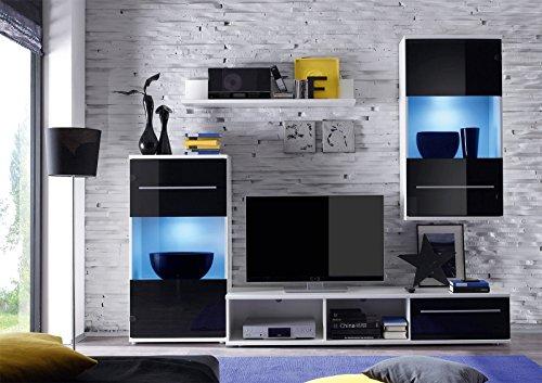 ROLLER Wohnwand BLACK MAGIC – schwarz-weiß – LED-Beleuchtung – 230 cm breit - 3
