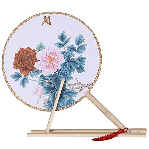 ArtiDeco Rund Fächer Blumen Chinesische Tang Dynastie Stil Handfächer mit Sockel Tanzball Accessoires Damen Kostüm Zubehör (Stil 5)