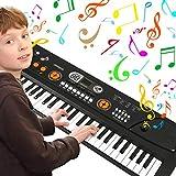 WOSTOO Clavier électronique de Piano 61, Portable Musique Clavier Électronique Organe Numérique Piano Musical Instrument avec Microphone pour Enfants Garçon Filles Cadeau - Noir