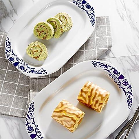 2pcs Assiette Porcelaine Rectangulaire 30*20*2cm Assiettes Plates Assiette à Hors d