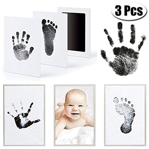 MCREE 3 PCS Baby Ink Pad für Baby Fußabdrücke Handabdruck und Fingerabdrücken Kit mit 3 extra große Pads und 6 Impressum Karten perfekt Keep Baby-Baby Dusche Geschenk (Schwarz)