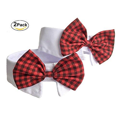 2 Kostüm Hunde Vorhanden - 2 Pack Hund Katze Haustier Halsbänder Fliege Krawatte Krawatte-Kailian