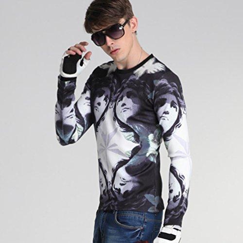 YiJee Maglia Maniche Lunghe Uomo Liscio Classic T Shirt Maglietta Come l'immagine 1