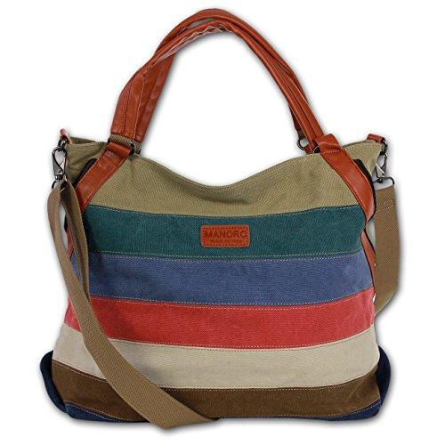 Handtasche Damen Hobo Bag Beuteltasche Baumwolle Canvas mehrfarbig, braun Umhängetasche Schultertasche Vintage and Vogue Manoro® OTK220F (Handtasche Baumwolle Hobo)