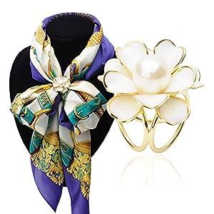 Fajewellery Schal Schmuck Camellia Blumen Perle Rhinestone Schal Clips Ringe Broschen für Damen