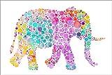 Acrylglasbild 30 x 20 cm: Elefant bunt von Miss Coopers Lounge - Wandbild, Acryl Glasbild, Druck auf Acryl Glas Bild