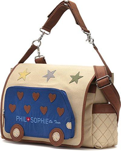 Phil + Sophie, Cntmp, donna borsette, avvolgente con tasche, Diaper Bags, Baby borse, Buggy-borse, in pelle, noorsk, 44 x 30,5 x 9 cm beige