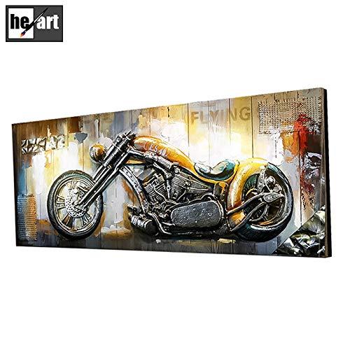 Retro Pop Art Wandkunst für Wohnzimmer 3D Metall Gemälde Motorräder Bild Holzbrett Rahmen Kunstwerk handgemachte schöne Wandhauptdekorationen bereit zu hängen,C