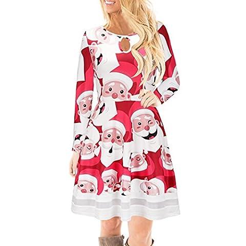 FORH Winter Damen Weihnachten Stil Santa Elch Gedruckt Lange Ärmel Spitze Kleid Niedlich Festlicher Spaß muster Swing Kleider Geschenk Mini Kleid Partykleid Cocktailkleid (M, Rot(Santa))