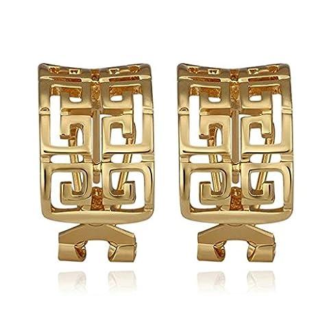KnSam Women Silver Plate hoop-earrings Hollow Maze Rectangle Shape Gold [Novelty Earrings]