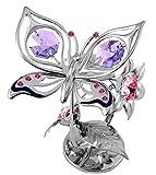 Mariposa y flor de ferrocarril-Color Plateado-Crystocraft perlas de...