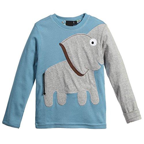 mioim Kinder Langarmshirt Elefant Jungen Mädchen Sweatshirt Baumwolle Winter Pullover Blau 110 cm