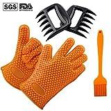ZOMEI BBQ Fleisch-Klauen+ Silikon Handschuhe hitzebeständiges und Heften Silikonbürste für