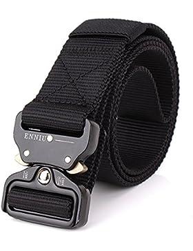 OWIKAR Cinturón de cintura táctico para hombre ajustable Cintura de nylon militar con hebilla de metal Equipo...