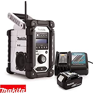 makita dmr104w white dab fm site radio with 1 x 5 0ah battery charger diy tools. Black Bedroom Furniture Sets. Home Design Ideas